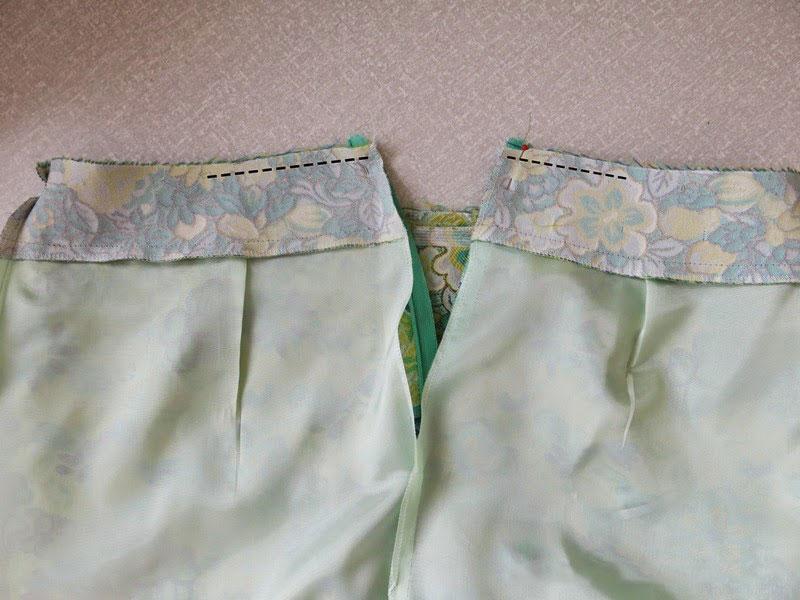 пришивание подкладки по верху юбки