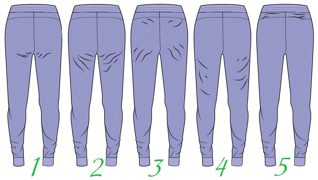 Заломы на брюках сзади
